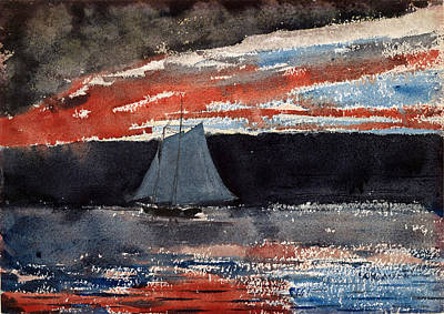 Winslow Homer Drawing - Schooner At Sunset by Winslow Homer