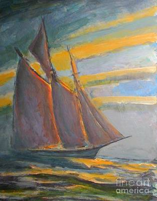 Sunrise Over Water Painting - Schooner Coming Home by John Malone