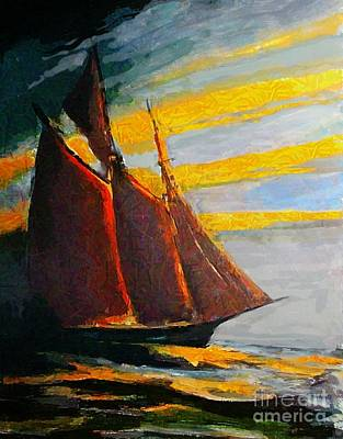 Bluenose Painting - Schooner Cutting Through The Sea by John Malone