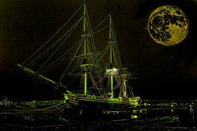 Schooner Friendship And The Super Moon Art Print by William Jobes