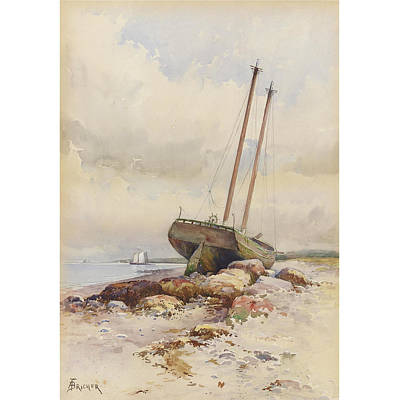 High Seas Painting - Schooner High And Dry by Alfred Thompson