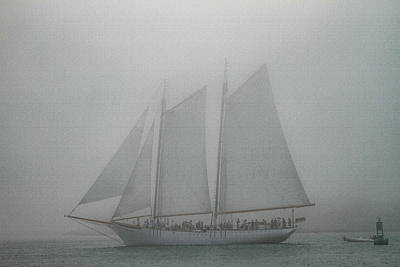 Photograph - Schooner In Fog by Bonnie Follett