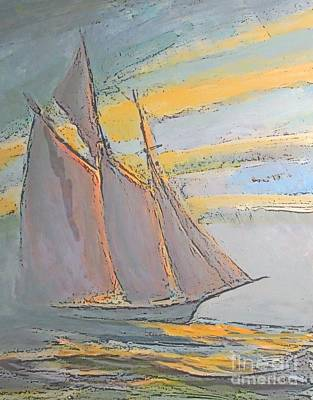 Bluenose Painting - Schooner In The Fog by John Malone