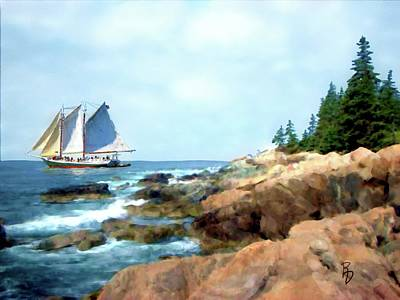 Digital Art - Schooner In The Penobscot Bay by Ric Darrell