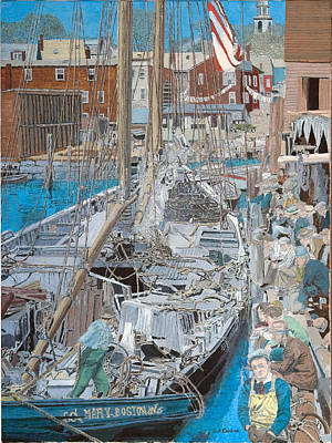 Painting - Schooner Mary In Harbbor Cove by Laurence Dahlmer