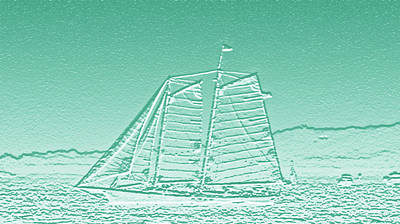 Usa Digital Art - Schooner On New York Harbor No. 3-3 by Sandy Taylor