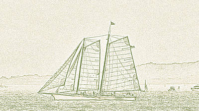 Schooner On New York Harbor No. 3-2 Print by Sandy Taylor