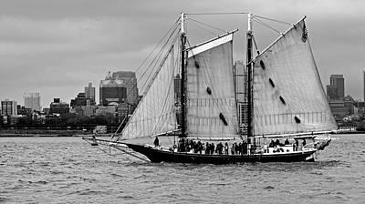 Sailboats Photograph - Schooner On New York Harbor No. 1-1 by Sandy Taylor