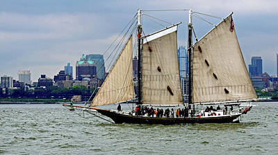 New York Photograph - Schooner On New York Harbor No. 1 by Sandy Taylor