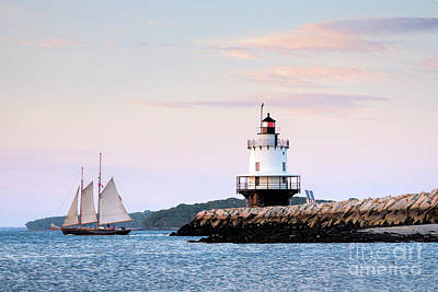 Photograph - Schooner Passing Spring Point, South Portland, Maine  #58758 by John Bald