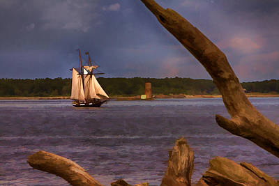Photograph - Schooner Sailing Past Whaleback Lighthouse by Jeff Folger