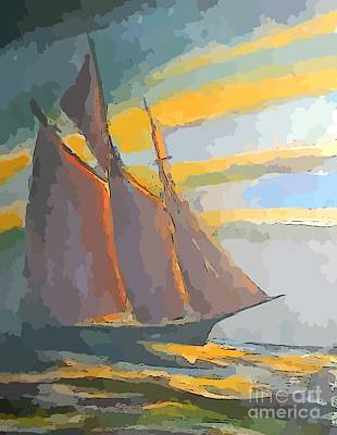 Olympic Sports - Schooner Ship Abstraction by John Malone