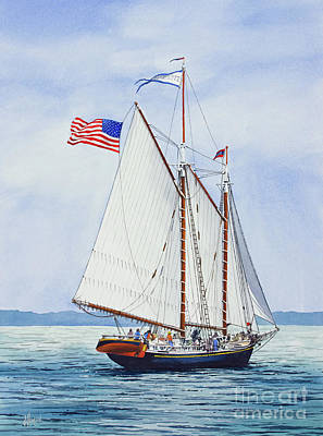 Maine Painting - Schooner Stephen Taber 1871 by James Williamson