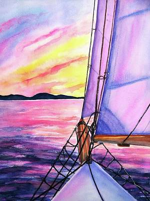 Painting - Sailboat Sunset Cruise On Schooner Surprise  by CarlinArt Watercolor