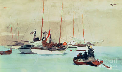 Florida Painting - Schooners At Anchor In Key West by Winslow Homer
