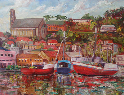 Painting - Schooners On The Carenage St Georges by Susan Mains
