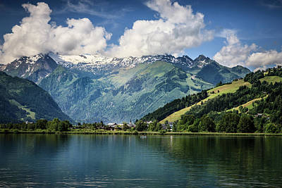 Photograph - Schuettdorf At Zeller Lake With Glockner Mountains by Alex Saunders