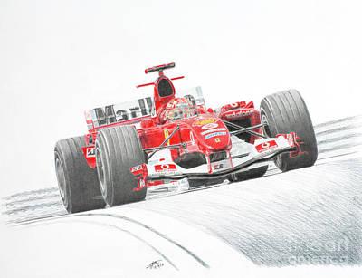 Benetton Wall Art - Drawing - Schumacher Ferrari F2004 by Lorenzo Benetton