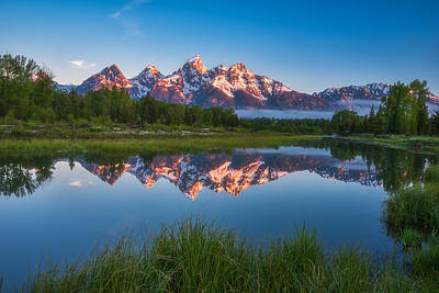 Photograph - Schwabacher Alpenglow by Darren  White