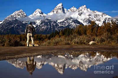 Photograph - Schwabacher Landing Hiker Reflections by Adam Jewell