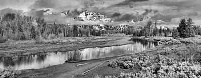 Photograph - Schwabacher Reflections Of The Tetons Black And White by Adam Jewell