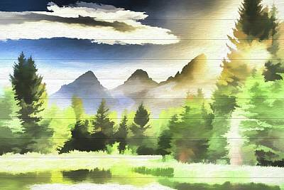 Teton Mixed Media - Schwabachers Landing Sunlight by Dan Sproul