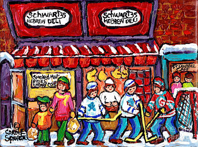 Painting - Schwartz Hebrew Deli Painting Main Street Montreal Hockey Art Canadian Winter Scenes C Spandau by Carole Spandau
