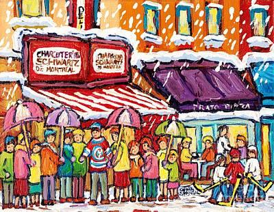 Painting - Schwartz Montreal Winterscene Painting For Sale Snowy City Scene C Spandau Hockey Storefront Quebec  by Carole Spandau