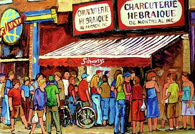 Montreal Neighborhoods Painting - Schwartzs Deli Lineup by Carole Spandau