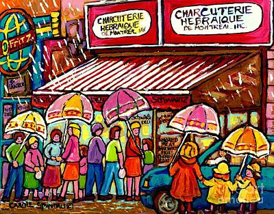 Painting - Schwartz's Deli Rainy Day Line-up Umbrella Paintings Montreal Memories April Showers Carole Spandau  by Carole Spandau