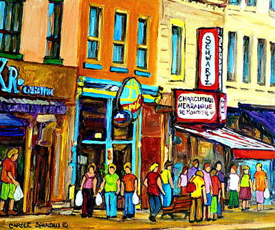 Classical Montreal Scenes Painting - Schwartz's Hebrew Deli On St. Laurent In Montreal by Carole Spandau