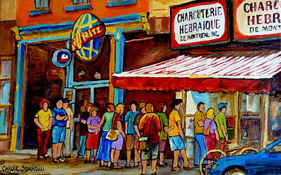 Painting - Schwartzs Lineup On St. Lawrence Montreal Streetscenes by Carole Spandau