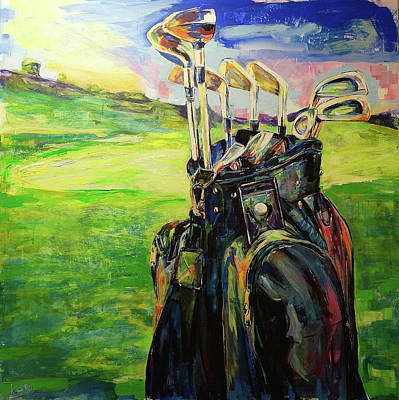 Painting - Schwarze Golftasche  Black Golf Bag by Koro Arandia