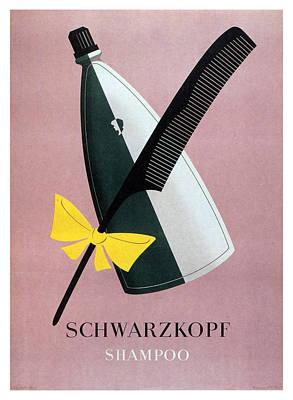 Mixed Media - Schwarzkopf Shampoo - Vintage Advertising Poster by Studio Grafiikka