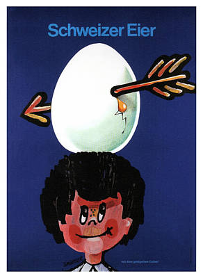Royalty-Free and Rights-Managed Images - Schweizer Eier - Swiss Eggs - Vintage Advertising Poster by Studio Grafiikka