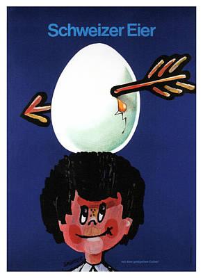 Mixed Media - Schweizer Eier - Swiss Eggs - Vintage Advertising Poster by Studio Grafiikka