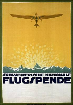 Mixed Media - Schweizerische Nationale Flugspende - Flight Donation - Retro Travel Poster - Vintage Poster by Studio Grafiikka