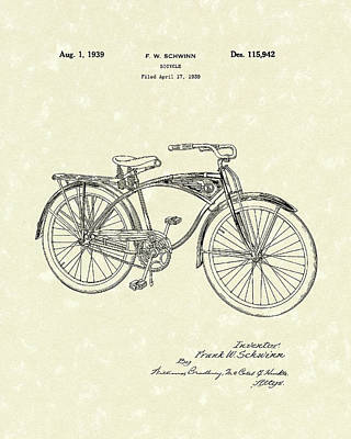 Bicycle Drawing - Schwinn Bicycle 1939 Patent Art by Prior Art Design