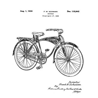 Photograph - Schwinn Bicycle 1939 Patent by Bill Cannon