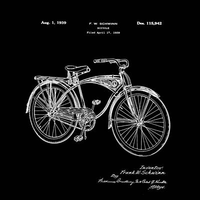 Bike Photograph - Schwinn Bicycle 1939 Patent Black by Bill Cannon