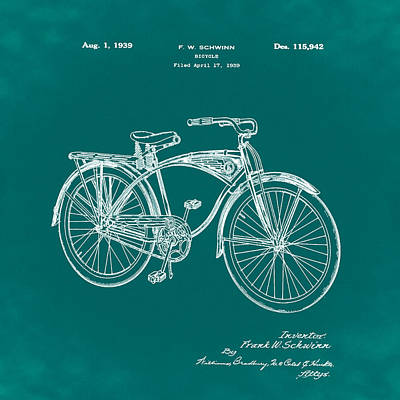 Photograph - Schwinn Bicycle 1939 Patent Green by Bill Cannon