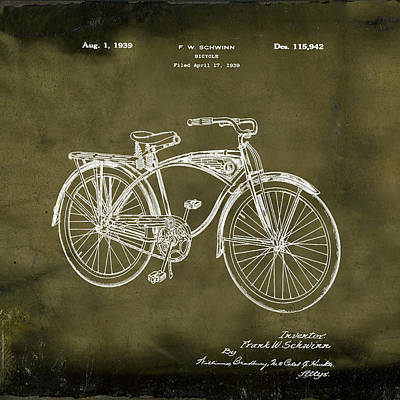 Photograph - Schwinn Bicycle 1939 Patent Grunge by Bill Cannon