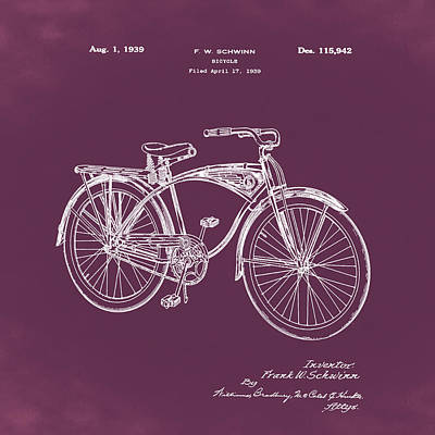 Photograph - Schwinn Bicycle 1939 Patent Red by Bill Cannon