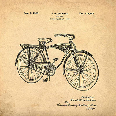Photograph - Schwinn Bicycle 1939 Patent Sepia by Bill Cannon