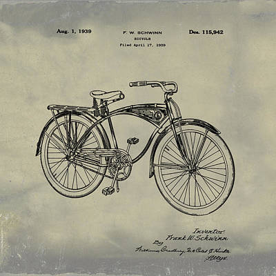 Photograph - Schwinn Bicycle 1939 Patent Vintage by Bill Cannon