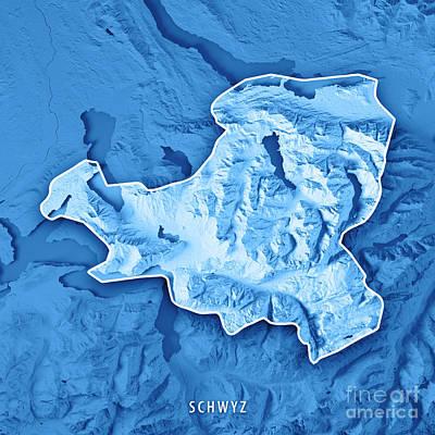 Schwyz Canton Switzerland 3d Render Topographic Map Blue Border Art Print by Frank Ramspott