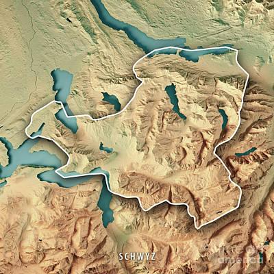 Schwyz Canton Switzerland 3d Render Topographic Map Border Art Print by Frank Ramspott