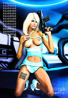Mixed Media - Sci-fi Topless Blonde With Gun On Spaceship by Alicia Hollinger