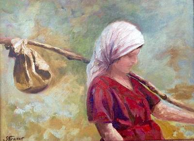 Grape Picker Painting - Sciarpa by Sally Fraser