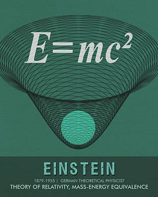 Royalty-Free and Rights-Managed Images - Science Posters - Albert Einstein - Theoretical Physicist by Studio Grafiikka